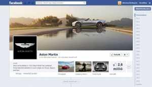 Az Aston Martin Facebook oldala.